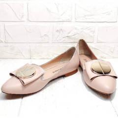 Лодочки бежевые балетки кожаные Wollen G192-878-322 Light Pink.