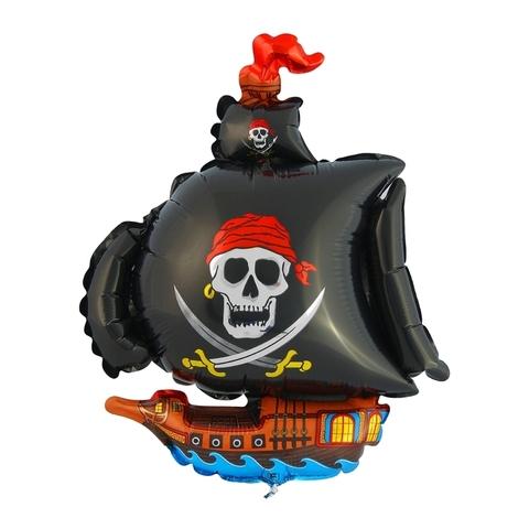Фольгированный шар «Пиратский корабль», черный, 104см