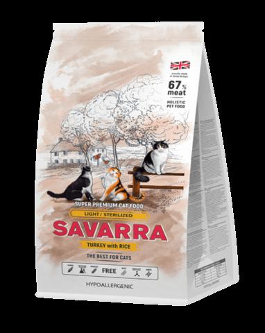 купить Savarra LightSterilized Cat Turkey and Rice Сухой корм для взрослых кошек имеющих избыточный вес и стерилизованных с индейкой и рисом