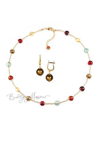 Комплект Carnavale Oro Piccolo (бронзовые серьги на серебре, ожерелье)