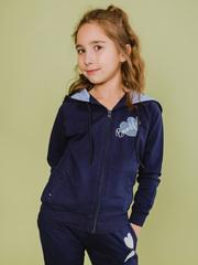 Толстовка детская синяя с капюшоном и застежкой-молнией купить