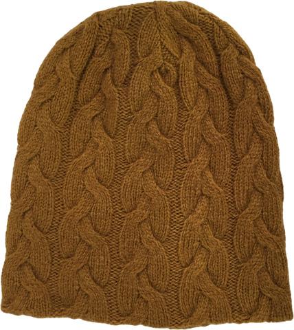 Вязаная женская шапка горчичного цвета