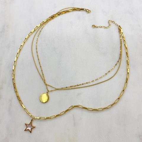 Цепь многорядная с медальоном и звездочкой, сталь (золотистый)