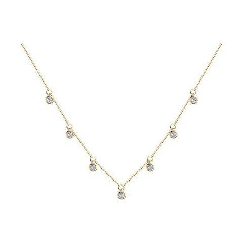 93070061 - Колье из серебра в лимонной позолоте с подвесками - завальцованые фианиты