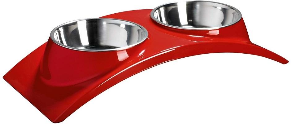 Миски, диспенсеры Миска двойная на меламиновой подставке «Элеганс» 2х160 мл красная, SuperDesign 60012.jpg