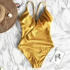 купальник слитный желтый горчичный с рюшем с чашечками 2