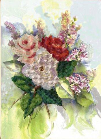 Тема: Цветы¶Техника: Частичная вышивка бисером¶Размер: 19х26,5 см¶Основа: Ткань (хлопко-льняная) с н