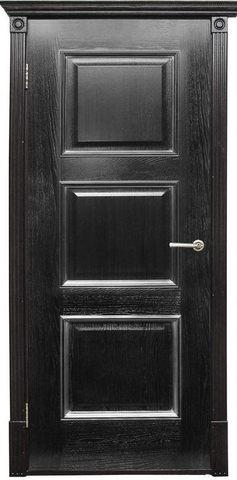 Дверь Халес Триест (черный с серебром, глухая, массив хвойных пород)