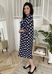 Адель. Вільна сукня з оригінальним рукавом. Синій горох