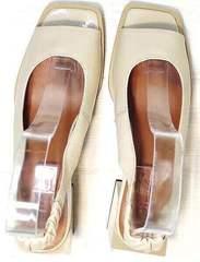 Квадратные туфли босоножки бежевые Brocoli H150-9137-2234 Cream.