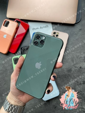 Чехол iPhone 11 Pro Glass Pastel color Logo /forest green/