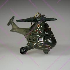 Фарфоровая елочная игрушка Вертолет
