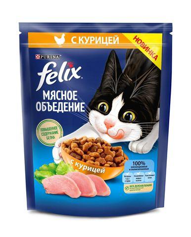 Felix Мясное объедение Сухой корм для кошек с курицей