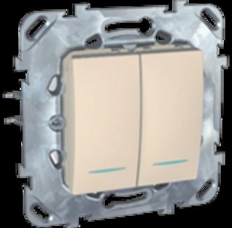 Выключатель двухклавишный с подсветкой проходной. Цвет Бежевый. Schneider electric Unica. MGU5.0303.25NZD