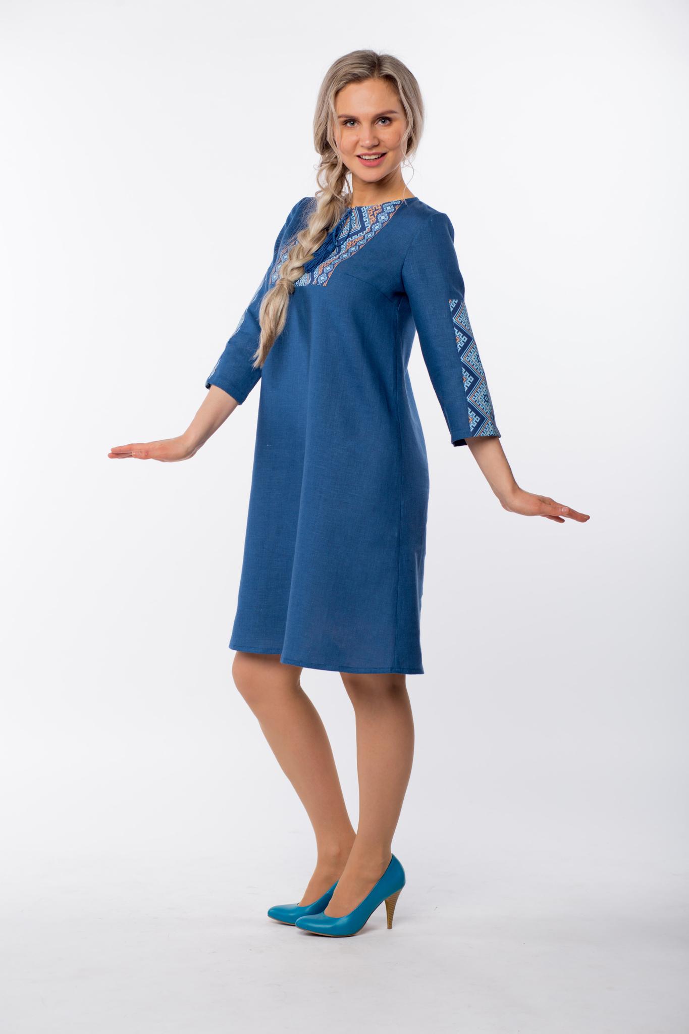 Платье льняное Морское вид сбоку