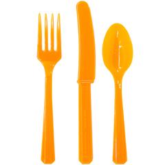 Столовые приборы пластик Оранжевый / Orange Peel / 24 шт.