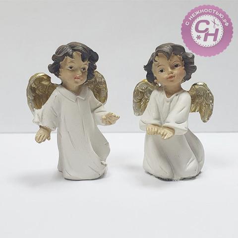Фигурка Ангел с золотистыми крыльями в белом платье, 6*4*2 см, 1 шт.