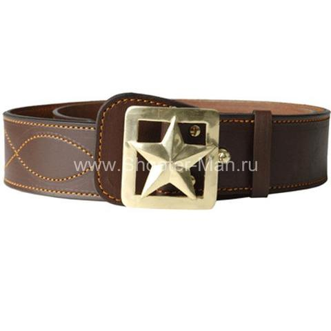 Ремень кожаный генеральский со звездой