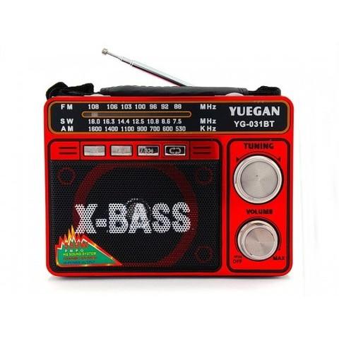 Радиоприемник YG-031 BT + фонарь, MP3/FM/MicroSD/USB, встроенный аккумулятор, (2xR20)