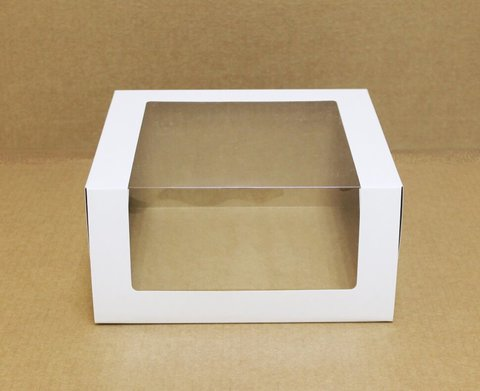 Коробка для торта с окном  22.5*22.5*11 см, белая/крафт