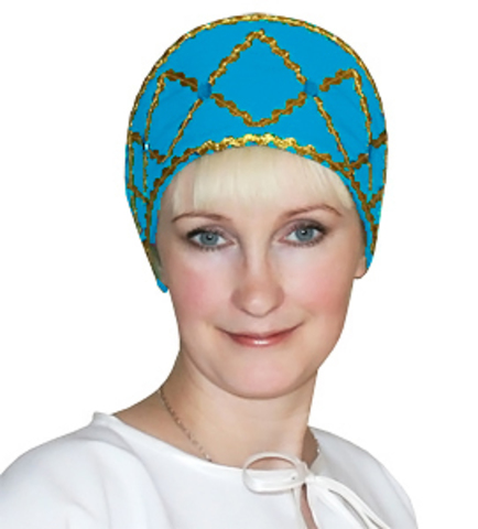 Русский народный кокошник голубой