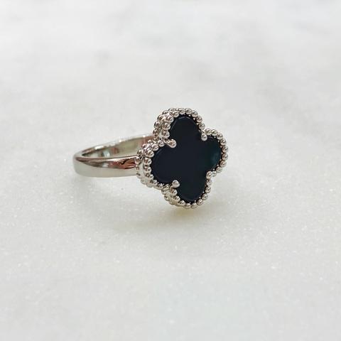 Кольцо Клевер (черный, серебристый)