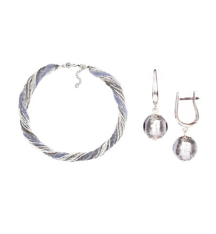 Комплект украшений серо-синий (серьги-бусины, ожерелье из бисера 24 нити)