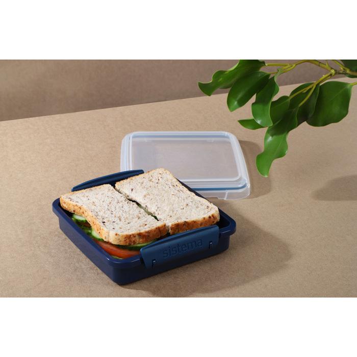 """Контейнер для сэндвичей Sistema """"Renew"""" 450мл, цвет Синий"""