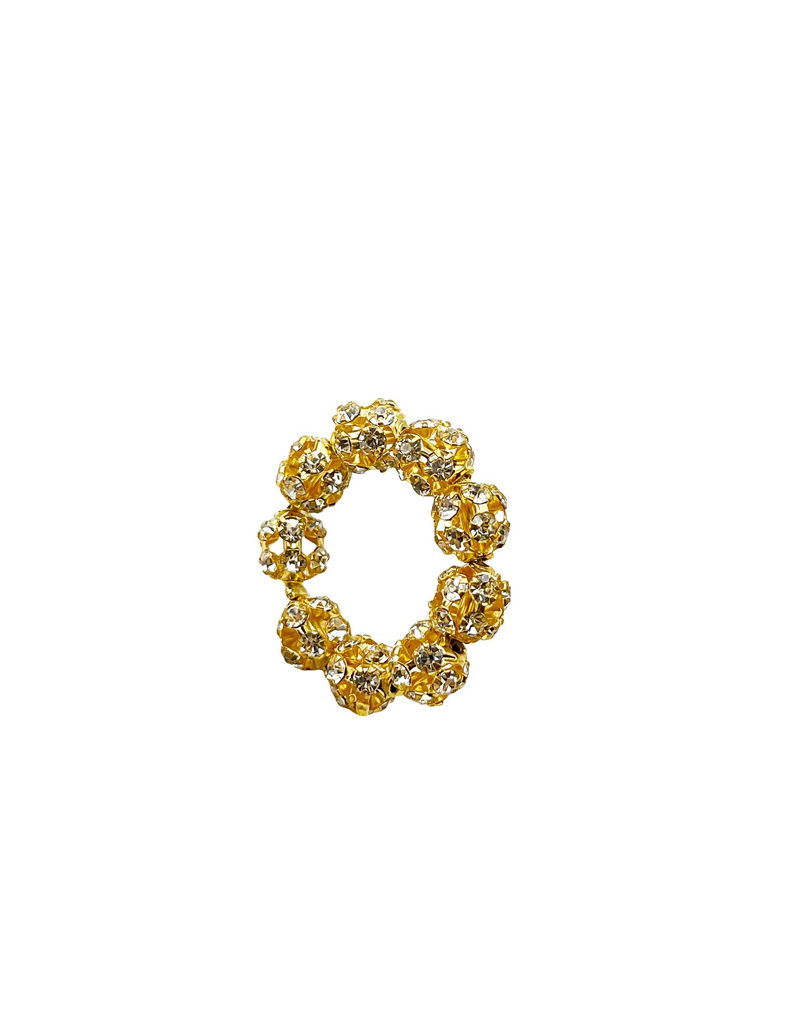 Подвеска Кольцо из сверкающих бусин 6 мм / gold tone /