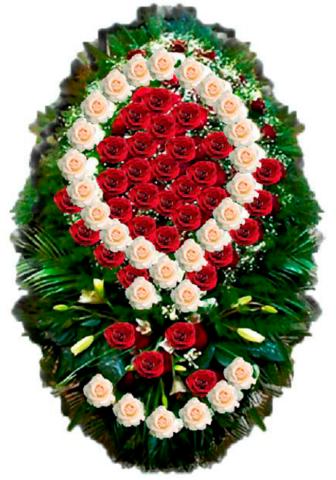 Траурный венок из живых цветов ВЖ 01 -180 см