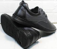 Современные туфли мужские летние кожаные с перфорацией  Ridge Z-430 75-80Gray