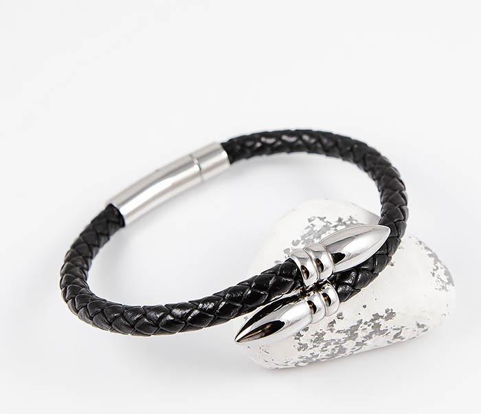 BM535 Необычный браслет шнур из черной кожи