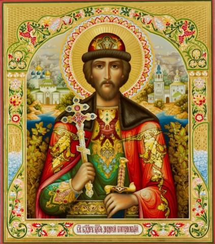 Икона святой Андрей Боголюбский на дереве на левкасе мастерская Иконный Дом