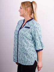 Аврора. Комбинированная блуза больших размеров. Мята+цветы.