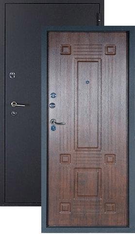 Дверь входная Топаз стальная, тиковое дерево, 2 замка, фабрика Алмаз
