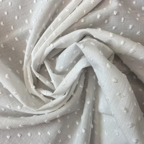 Ткань батист деворе хлопковый белый 2079