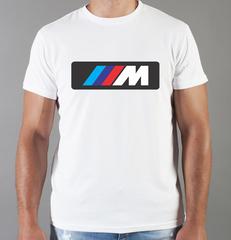 Футболка с принтом BMW M (БМВ М) белая 0027