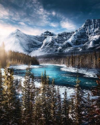 Алмазная Мозаика 40x50 Озеро среди гор и леса (арт. HWA2932 )