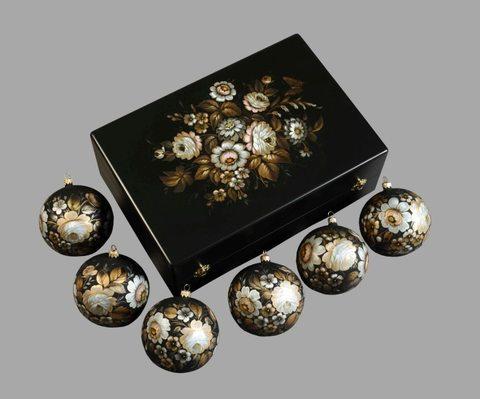 Набор из 6 елочных шаров в шкатулке SET04D-667785786
