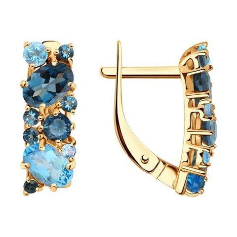 724260 - Серьги из золота с синими топазами