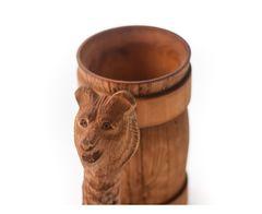 Кружка деревянная пивная с резной ручкой «Медведь» 0,7 л, фото 2