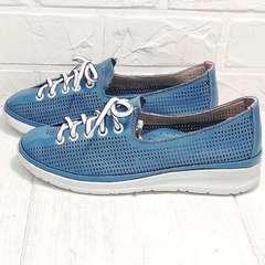 Женские кроссовки сникерсы на шнуровке летние street casual Wollen P029-2096-24 Blue White.