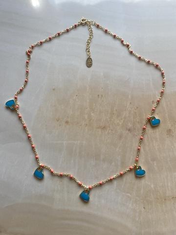 Колье Лавуа, голубая и оранжевая эмаль