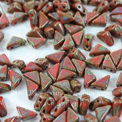 Бусина Tango Треугольник с 2 отверстиями, 6 мм, коралловая Picasso
