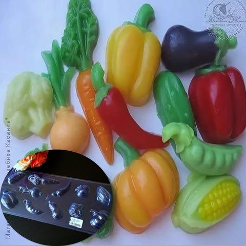 Пластиковая форма для шоколада бол. ОВОЩНОЕ АССОРТИ 11 фигур (тыква, кукуруза, помидор, брокколи, кабачок, морковь, горох, лук, огурец, болгарский перец)