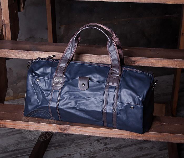 BAG408-3 Вместительная мужская сумка из кожи синего цвета
