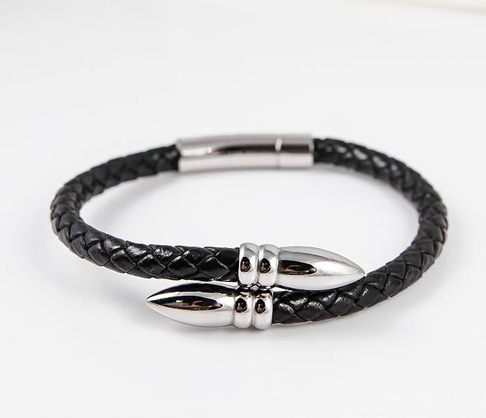 BM535 Необычный браслет шнур из черной кожи фото 05