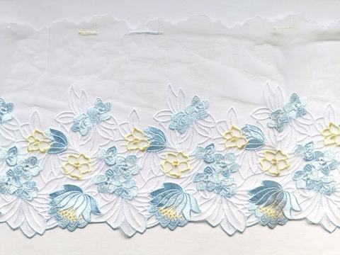 Вышивка на сетке, ПРАВАЯ, 22 см, голубой/желтый, (Арт: VS-1026), м