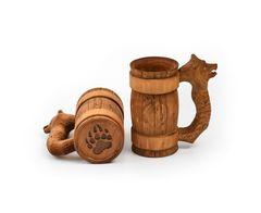 Кружка деревянная пивная с резной ручкой «Медведь» 0,7 л, фото 4