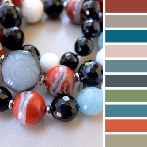 с чем сочетать бусы из камней красных, черных, белых, голубых - цветовая шпаргалка